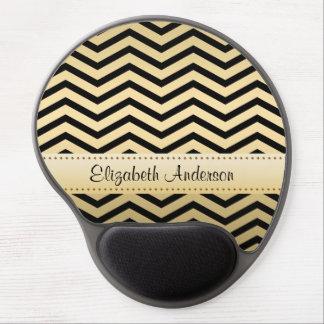 Mouse Pad De Gel Ouro luxuoso e Chevron preto com nome