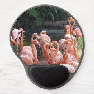 Mouse Pad De Gel Pássaros cor-de-rosa tropicais do flamingo