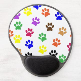 Mouse Pad De Gel Patas animais de Colorfull no fundo branco