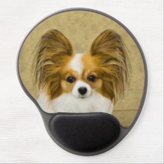 Mouse Pad De Gel Pintura de Papillon (cão tri) - arte original do