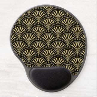 Mouse Pad De Gel Preto e teste padrão fino do fã de Deco do ouro