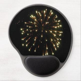 Mouse Pad De Gel Quarto da explosão dos fogos-de-artifício do ouro