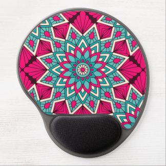 Mouse Pad De Gel Rosa e teste padrão floral da mandala de turquesa