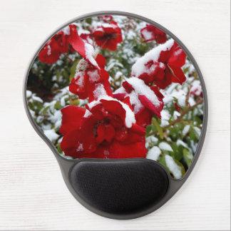 Mouse Pad De Gel Rosas vermelhas cobertas pela neve e pelo rime
