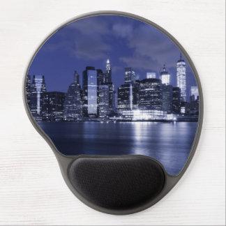 Mouse Pad De Gel Skyline de New York banhada no azul