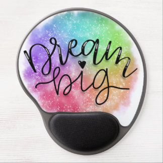 Mouse Pad De Gel Sonho do arco-íris da aguarela da galáxia do falso