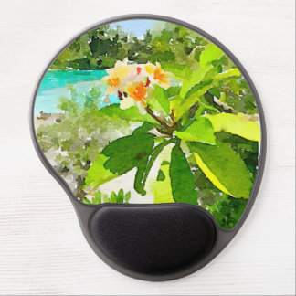 Mouse Pad De Gel Tapete do rato da flor da aguarela