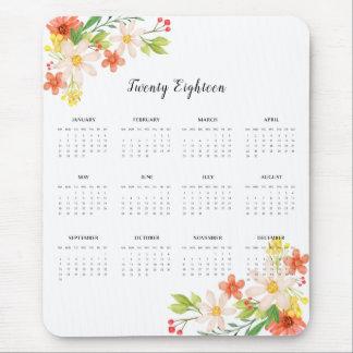 Mousepad 2018 flores do primavera do calendário