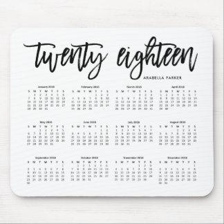 Mousepad 2018 tipografia moderna do calendário |