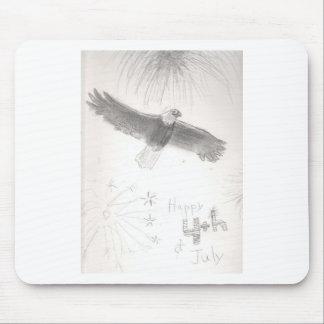 Mousepad 4' th da águia americana dos fogos-de-artifício de