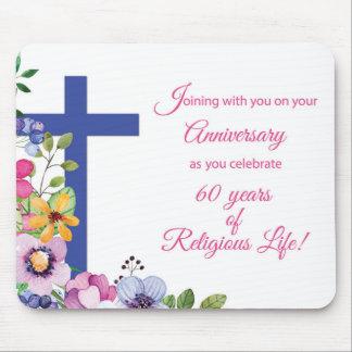 Mousepad 60th Aniversário, freira, cruz religiosa da vida