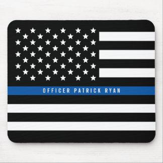 Mousepad A bandeira americana fina de Blue Line da polícia