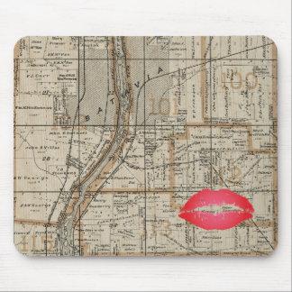 Mousepad A Batávia Illinois Plat Fox 1870 do mapa River