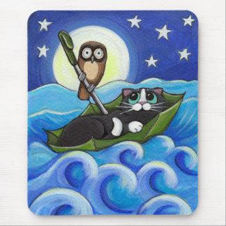 Mousepad A coruja e a arte lunática do gato do gatinho |