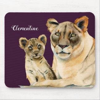 Mousepad A leoa da maternidade   e Cub   adicionam seu nome