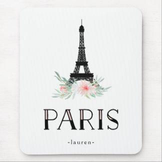 Mousepad A torre Eiffel na moda e cora flores cor-de-rosa |