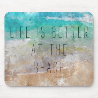 Mousepad A vida é melhor no tapete do rato da praia