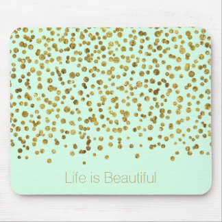 Mousepad A vida Glam dos confetes da hortelã do ouro é
