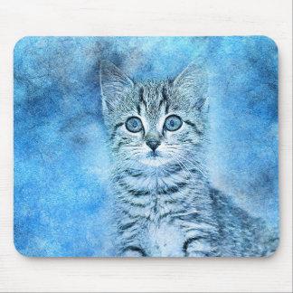 Mousepad Aguarela azul do abstrato | do gatinho | do gato