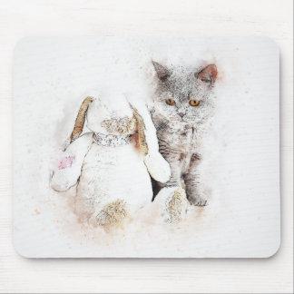 Mousepad Aguarela britânica do abstrato | de Shorthair & de