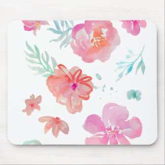 Mousepad Aguarela cor-de-rosa floral romântica legal &