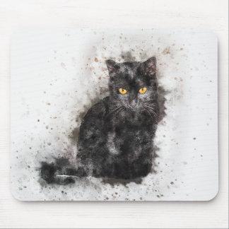 Mousepad Aguarela do abstrato | da beleza | do gato preto