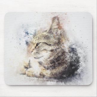 Mousepad Aguarela do abstrato | do amor | do gato malhado