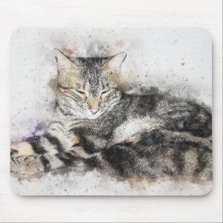 Mousepad Aguarela do abstrato | do gato malhado | do tempo