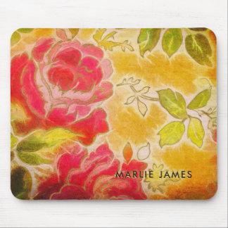 Mousepad Aguarela feminino floral do rosa do vintage com