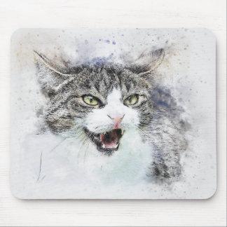 Mousepad Aguarela irritada do abstrato | do gatinho |