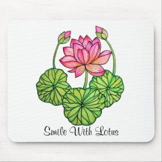 Mousepad Aguarela Lotus cor-de-rosa com botões & folhas