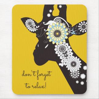 Mousepad Amarelo animal engraçado do girafa legal Funky de
