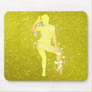 Mousepad Amarelo musical da mostarda do brilho da menina da