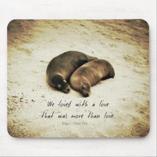 Mousepad Ame leões de mar românticos das citações do casal