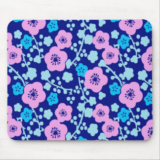 Mousepad Ameixa japonesa rica do teste padrão floral azul e