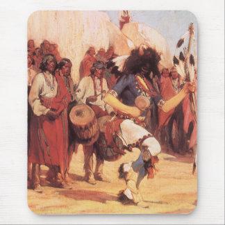 Mousepad Americanos nativos do vintage, dança do búfalo por