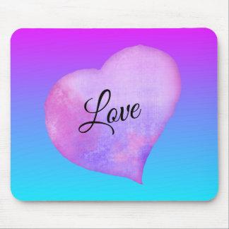 Mousepad Amor cor-de-rosa e azul do coração da aguarela