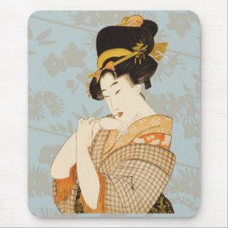 Mousepad Anfitrião japonês da menina de gueixa do vintage