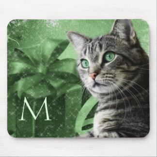 Mousepad APAL - Gato de gato malhado de prata no verde com