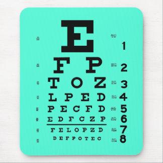 Mousepad Aqua médico da carta de olho da optometria da