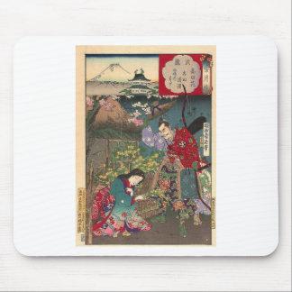 Mousepad Arte bonita japonesa do samurai da gueixa