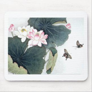 Mousepad Arte da borboleta da flor do rosa da folha de
