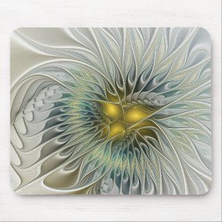 Mousepad Arte de prata dourada do Fractal do abstrato da