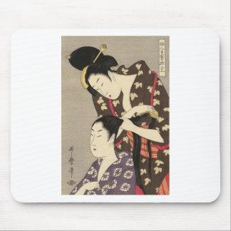 Mousepad Arte de Utamaro Yuyudo Ukiyo-e do cabeleireiro das