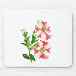 Mousepad Arte floral dos petúnias cor-de-rosa e brancos