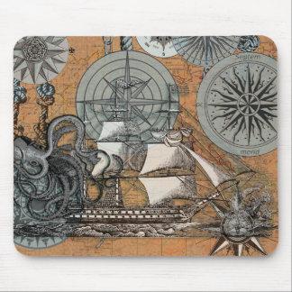 Mousepad Arte náutica do navio do polvo do vintage do rosa