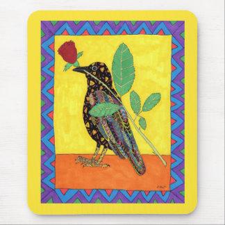 Mousepad Arte popular do mexicano do corvo & da rosa