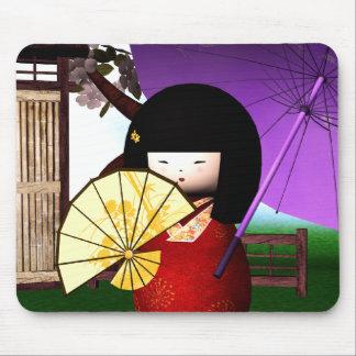 Mousepad Arte vermelha da boneca de Kokeshi