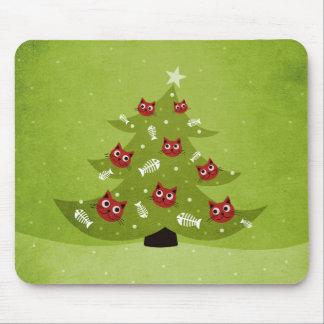 Mousepad Árvore de Natal do gato com ornamento dos peixes