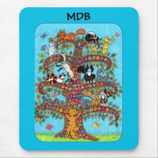Mousepad Árvore do gato de Millefiori do monograma do